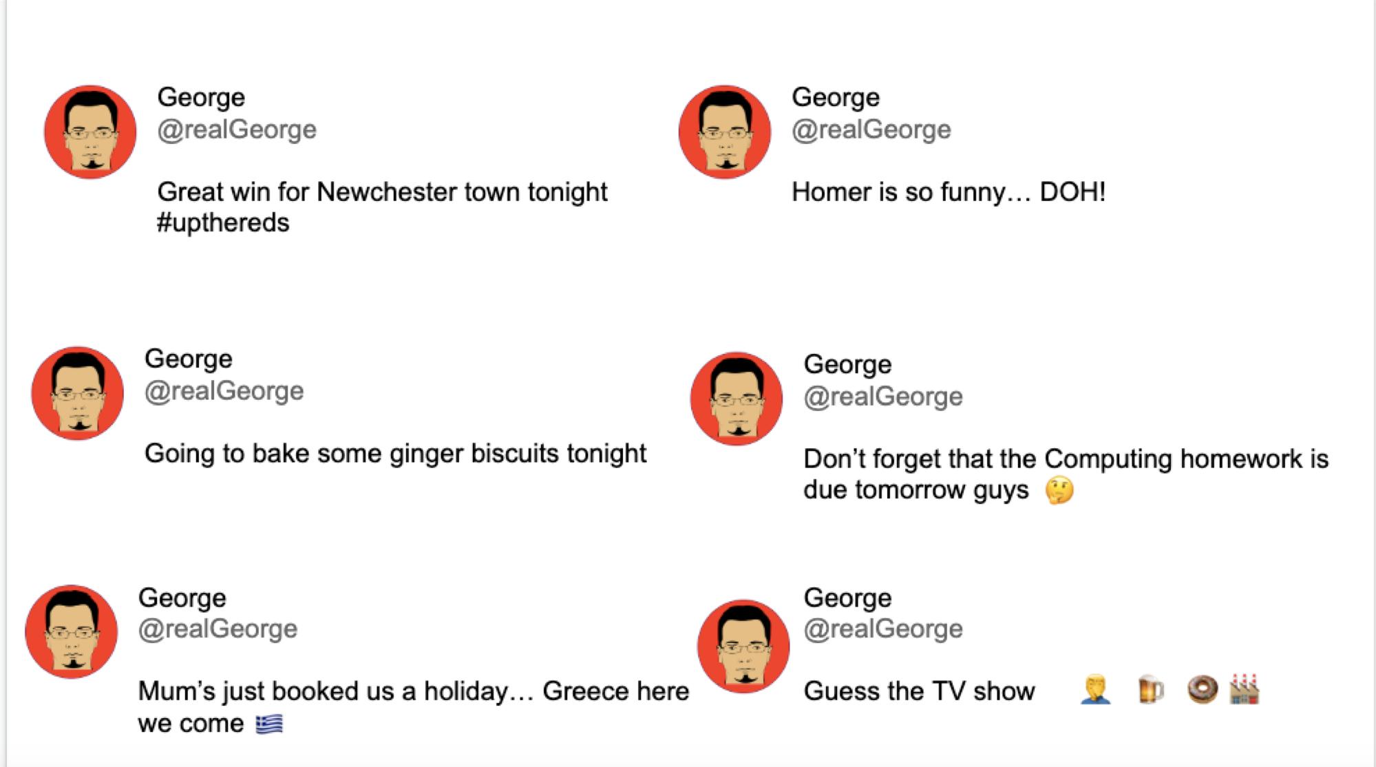 George's social media posts